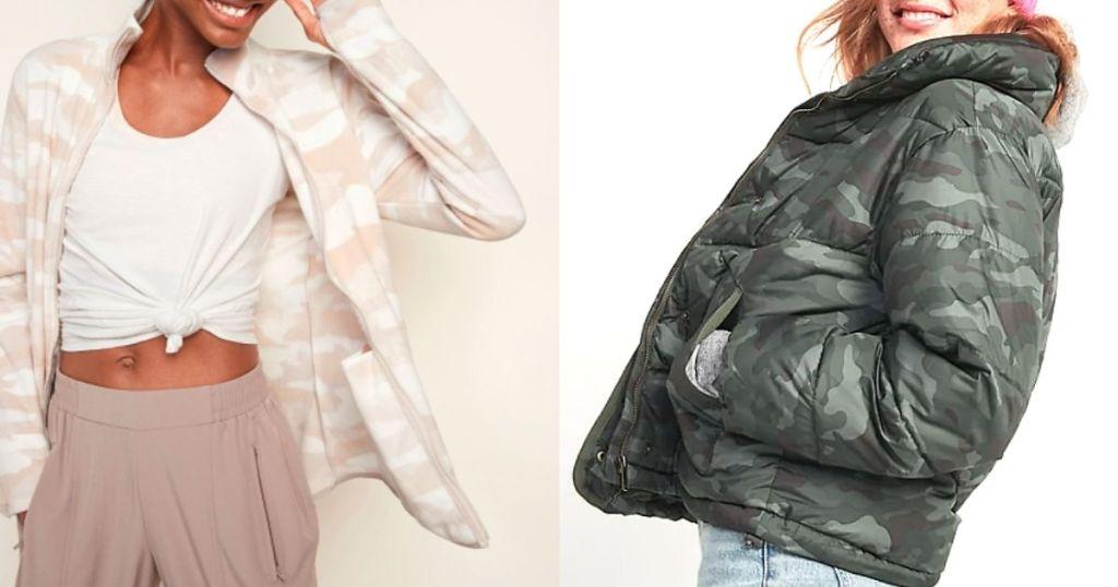 women wearing microfleece and puffer jackets