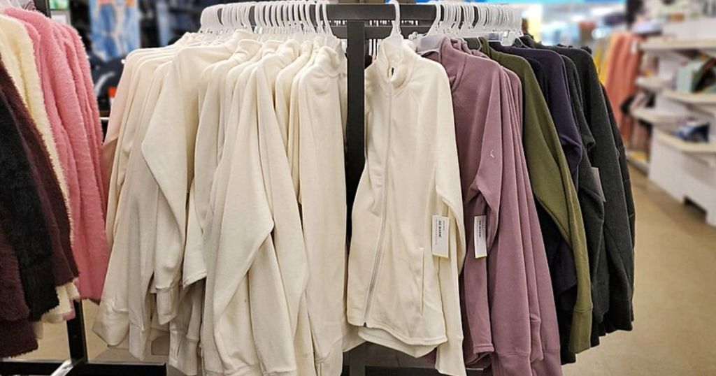 micro fleece jackets on a display in store