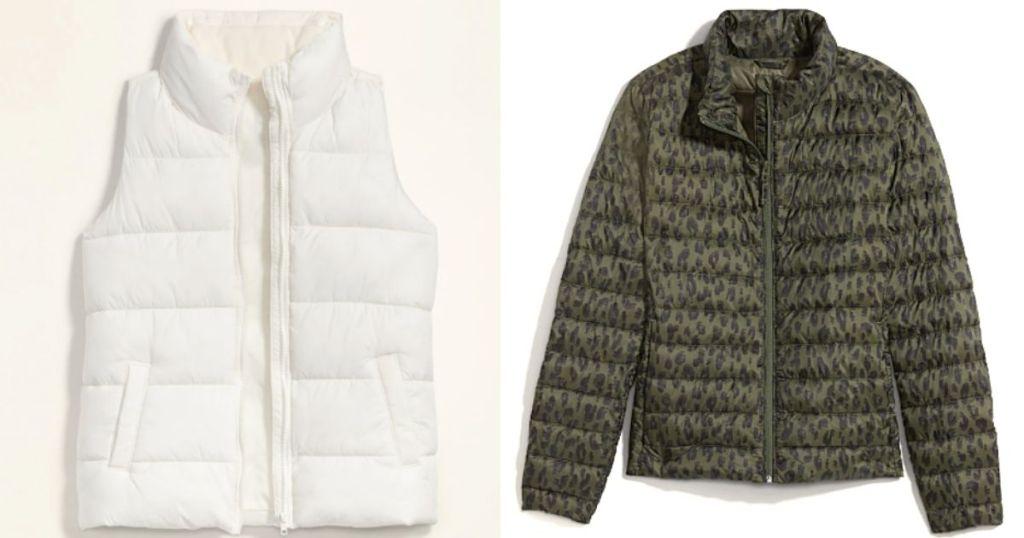 rompi puffer putih dan jaket puffer macan tutul hijau dan hitam