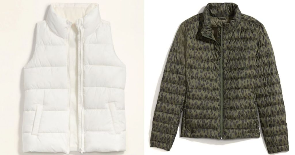 white puffer vest and green and black leopard puffer jacket
