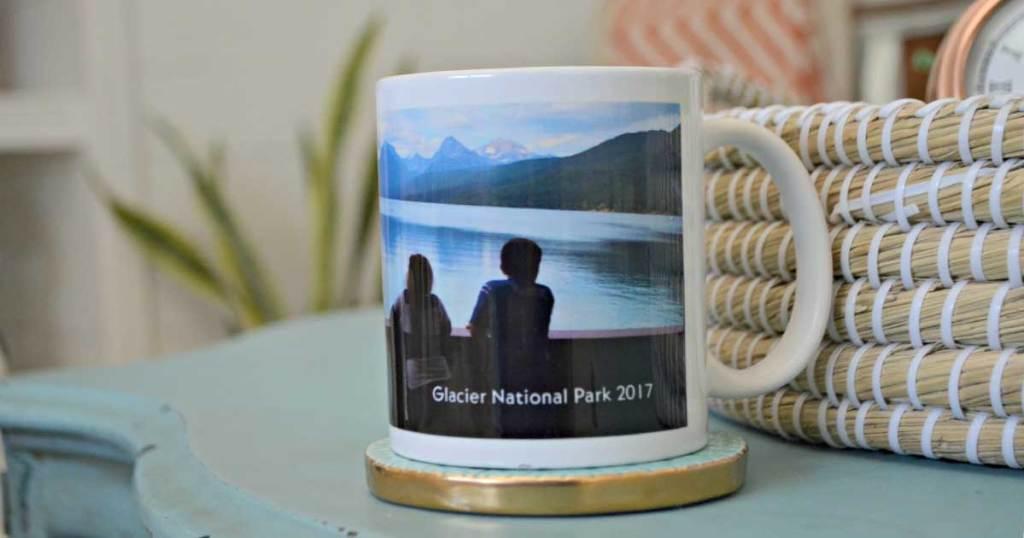 personalized mug on a shelf