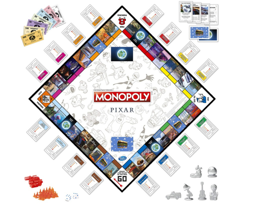 pixar monopoly board game with pieces