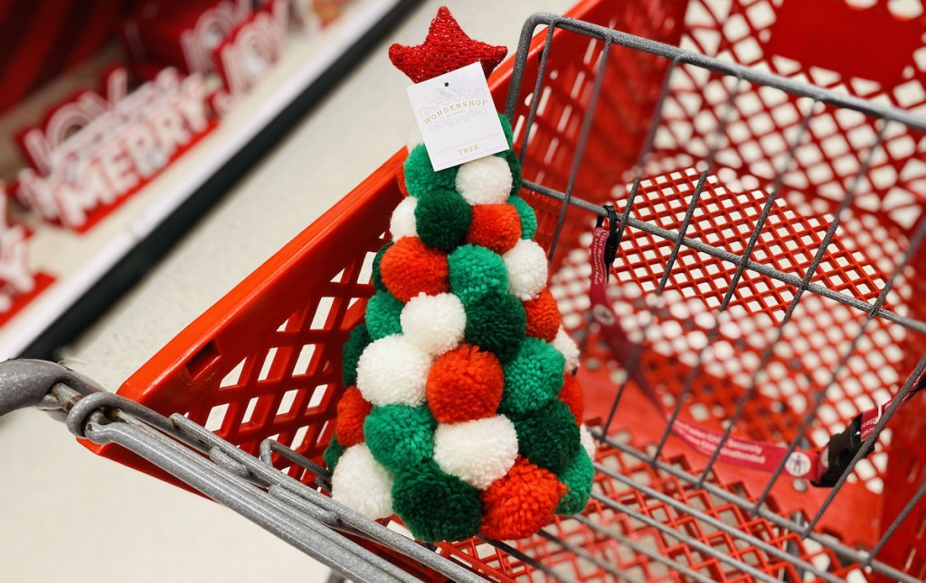 red green white pom pom christmas tree in red target cart