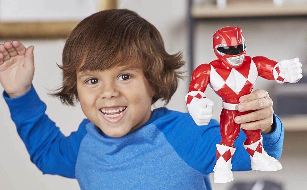 power rangers toy in boys hand
