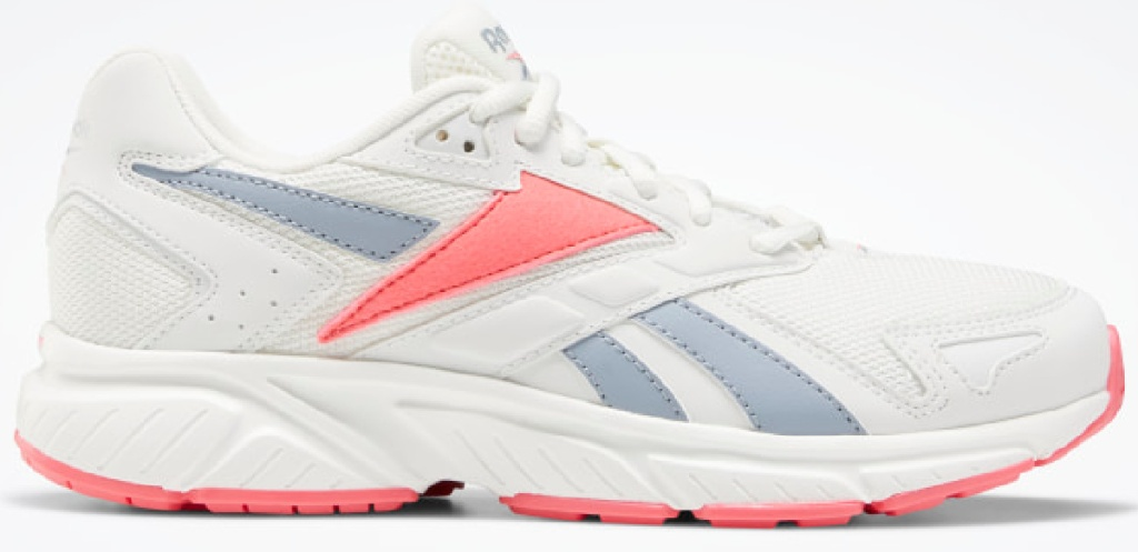 white blue and pink Reebok shoes