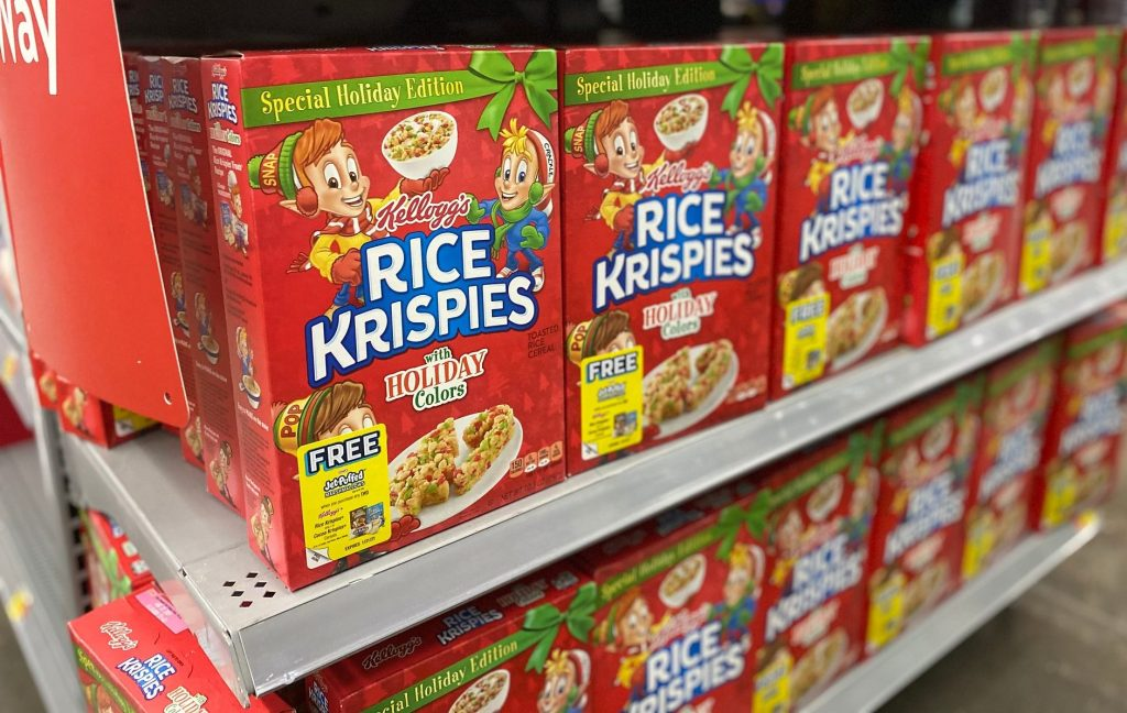 rice krispie holiday cereal in aisle