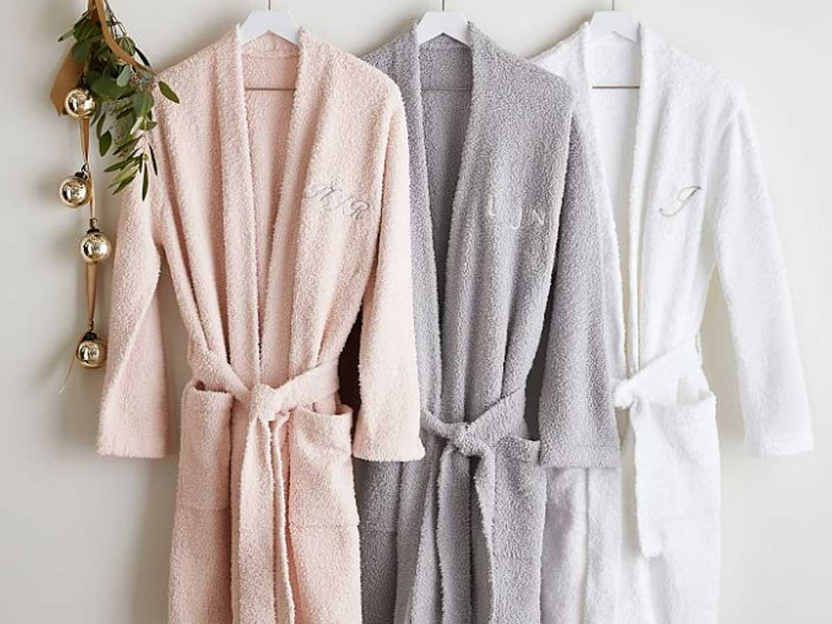 chenille robe hanging up