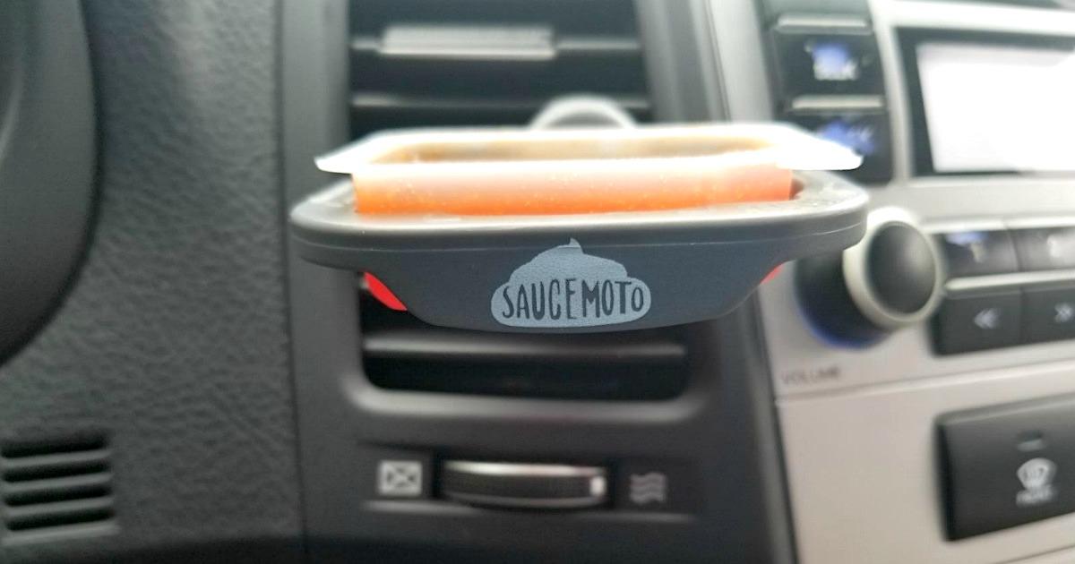 SauceMoto dip holder in car