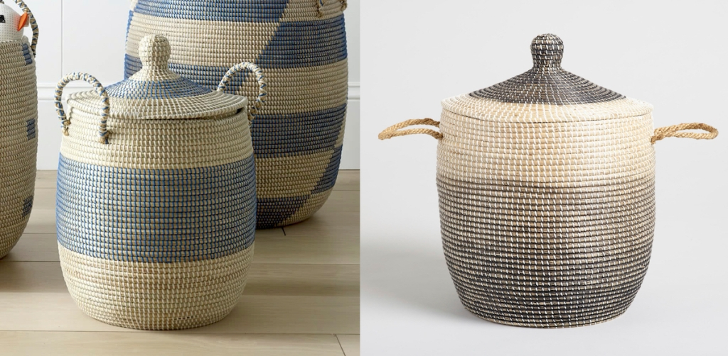side by side of cream and blue gray serena and lily dupes baskets