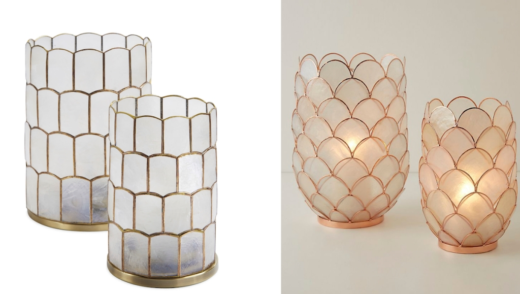 side by side stock photos of capiz candle holders serena and lily dupes