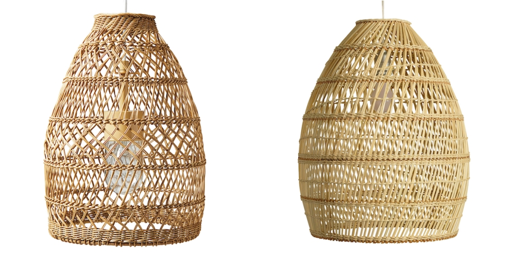 side by side of wicker pendant light stock photos