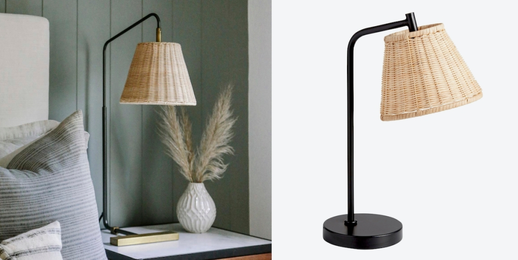 side by side of wicker table lamps