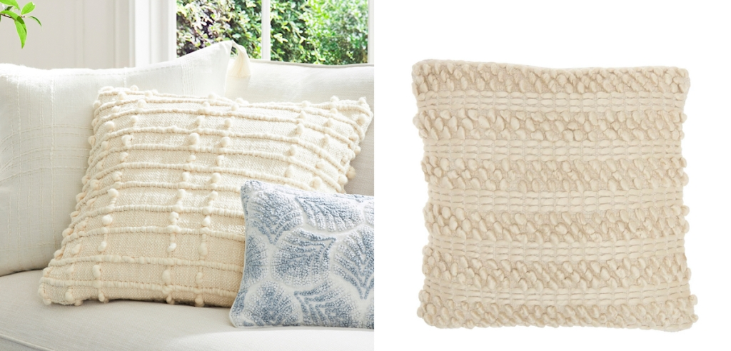 side by side of textured cream throw pillows serena and lily dupes