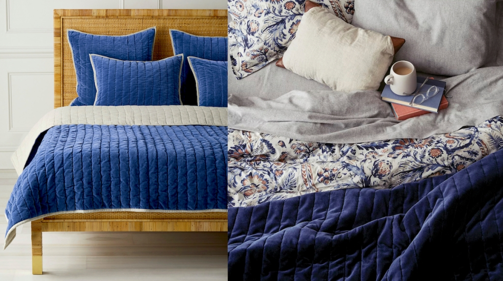 side by side of blue velvet quilts on bed serena and lily dupes