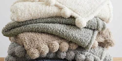 Pottery Barn Sherpa Pom Pom Throw from $24 (Regularly $49) + Up to 70% Off Home Goods