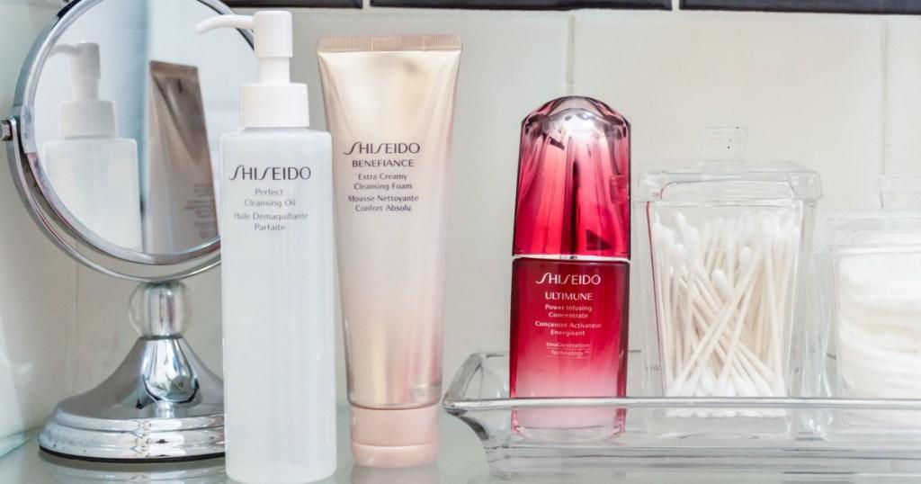 shiseido beauty in bathroom