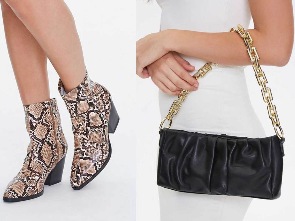snake booties and black purse