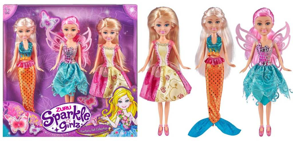 stock image of sparkle girls with box and dolls