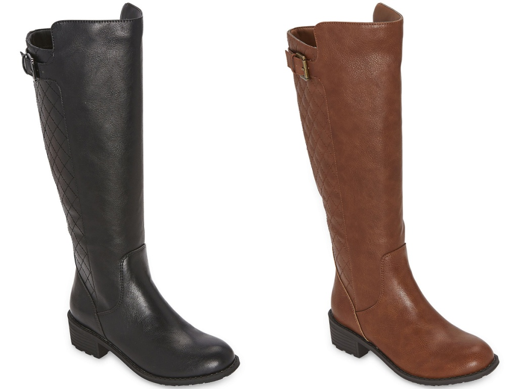 black and brown tall riding boots