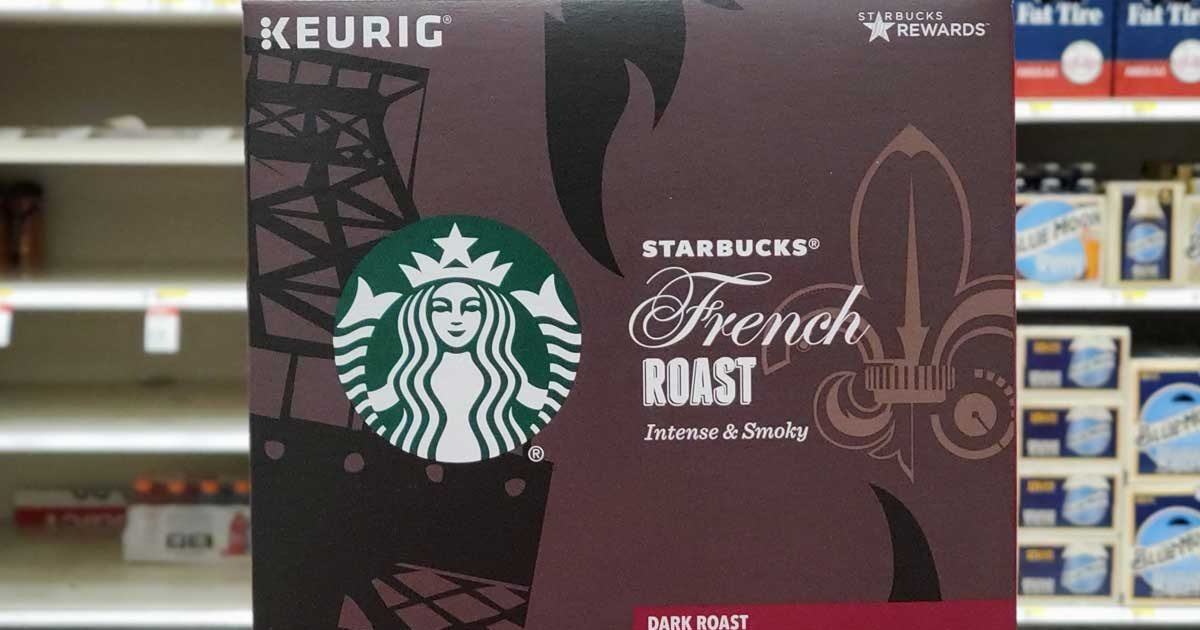 closeup of starbucks french roast coffee k-cups packaging cover in a store
