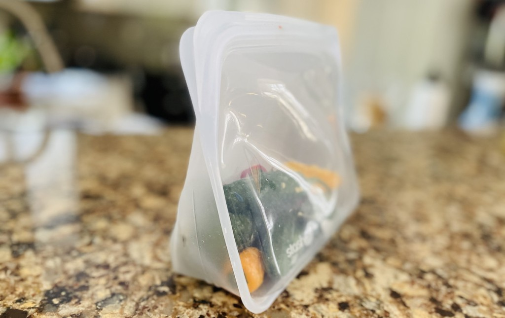 clear reusable bag standing up on countertop