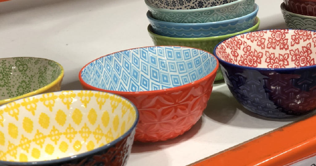 colorful bowls displayed on store shelf
