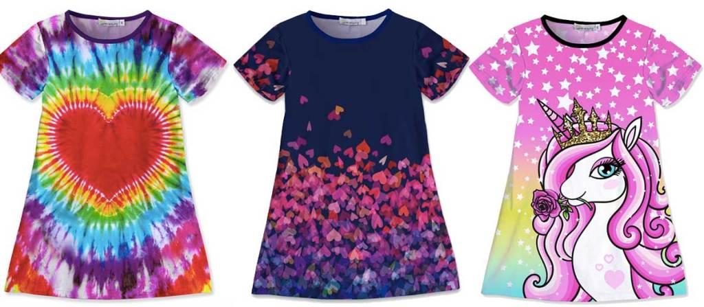 girls dresses three stock images