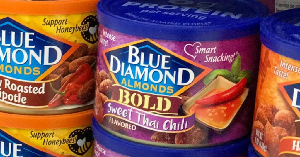 sweet thai chili almonds on shelf