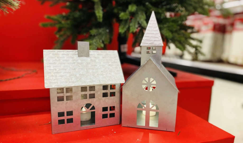 galvanized house and church on red shelf with christmas tree