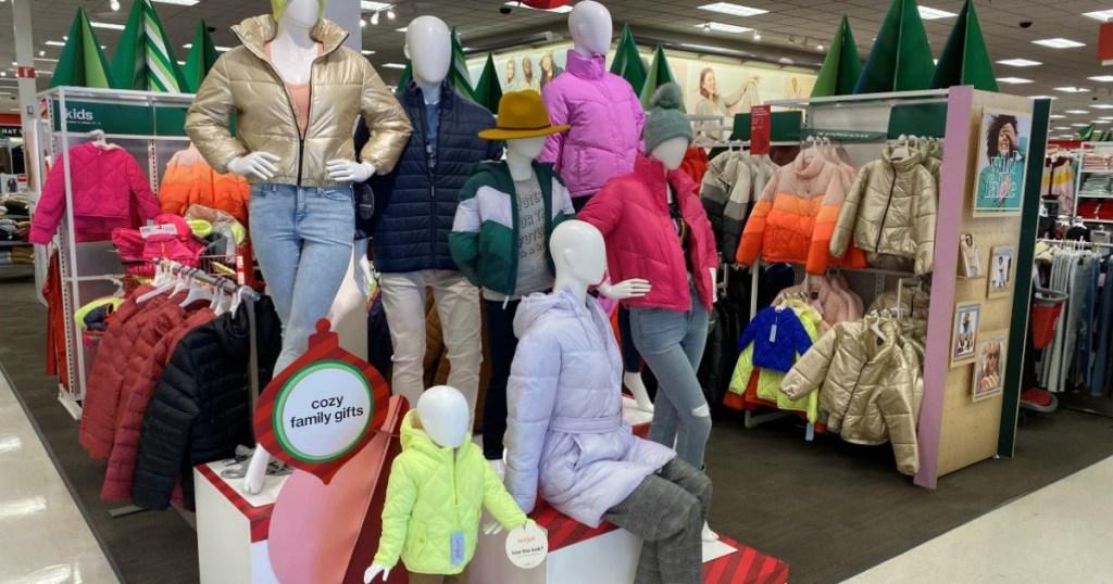 jackets on mannequins at Target