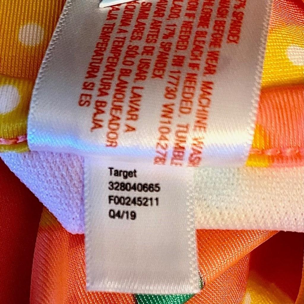label inside infant swim suit