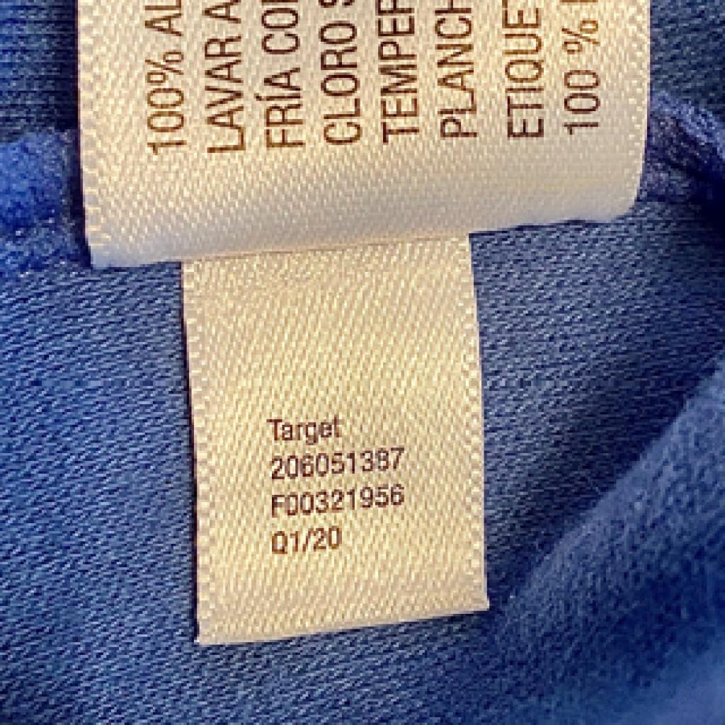 Target label inside garment