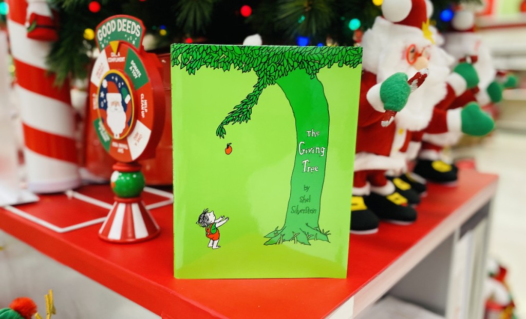 the giving tree book on red shelf