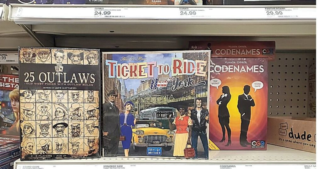 Ticket to Ride board game on shelf