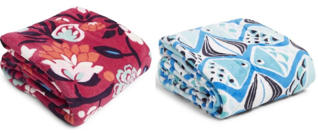 vera bradley throw blanket red and blue