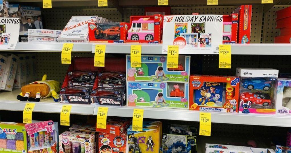 toys on Walgreens shelves