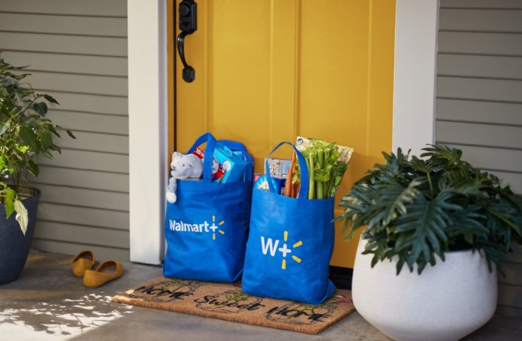 Walmart grocery bags on porch