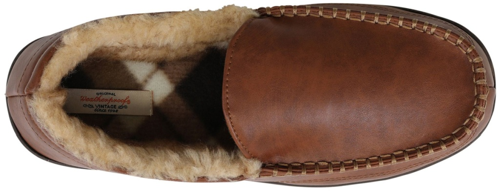 top view of fur slippers