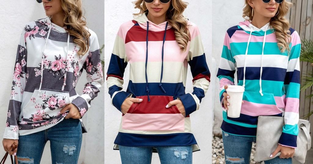 women wearing hoodies
