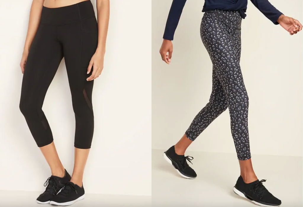 womens elevate leggings black and leopard