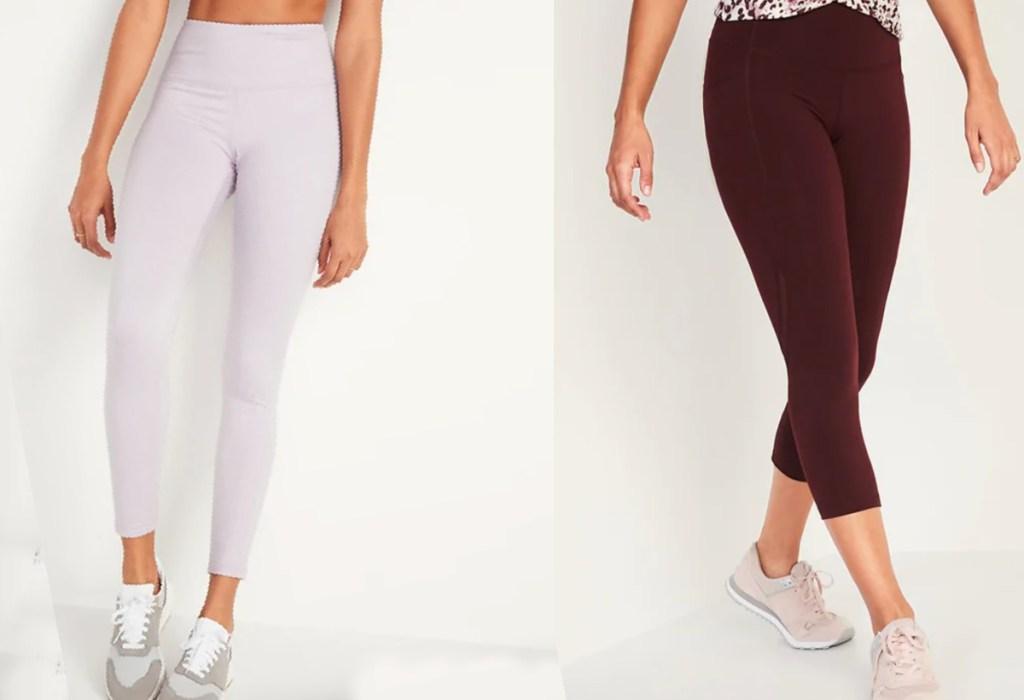 womens leggings white and maroon