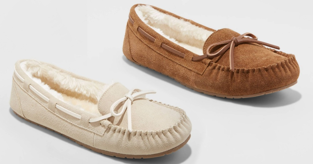 womens moccasins in cream and chestnut