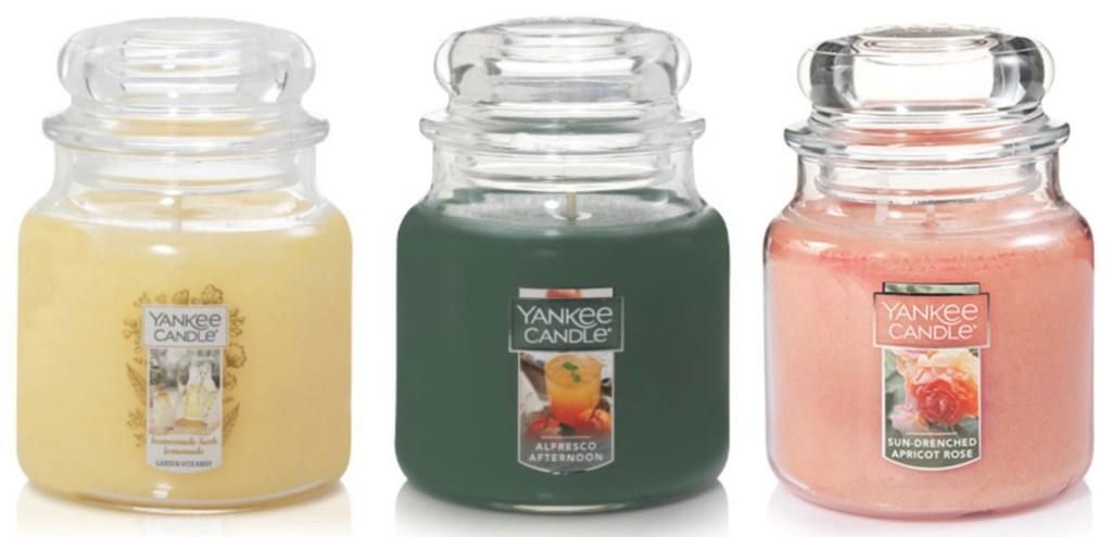 yankee jar candles three side by side