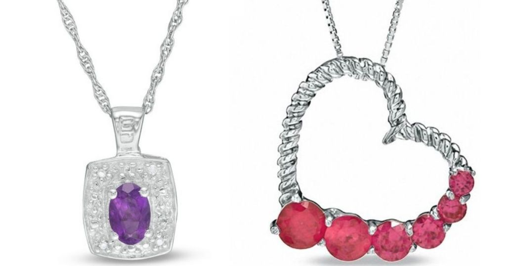 purple and diamond pendant and heart and ruby pendant