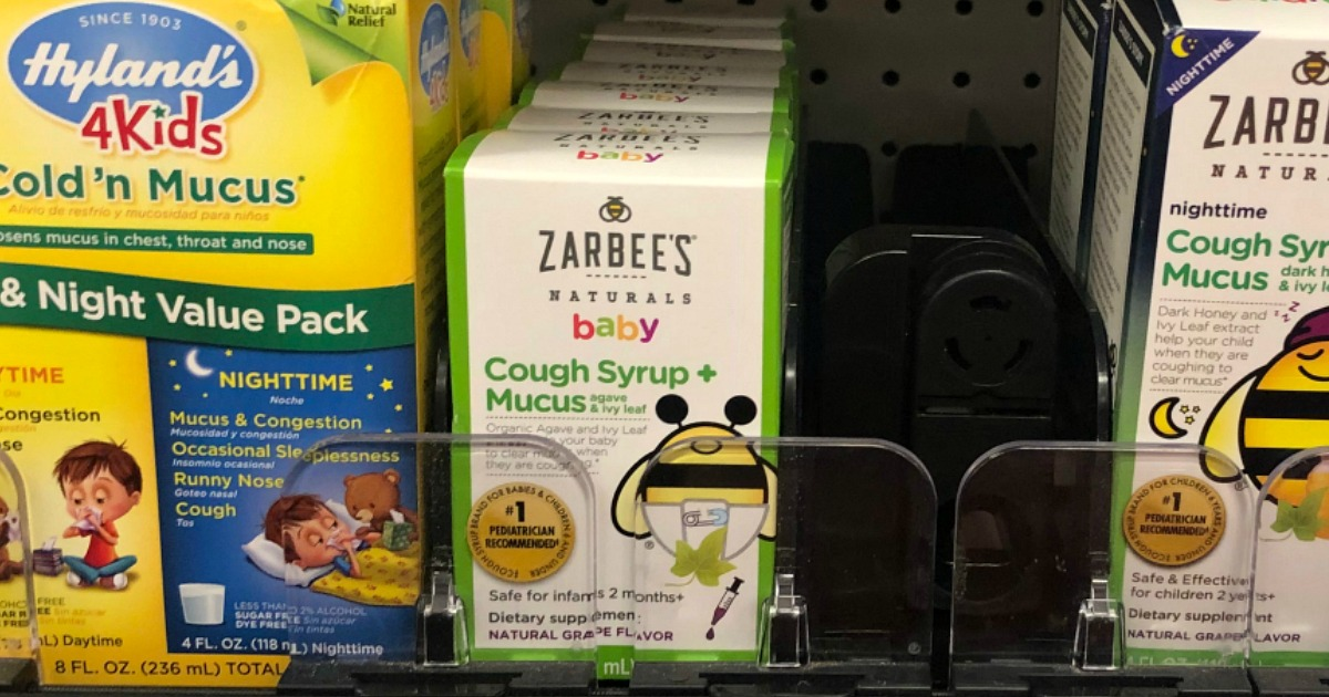 package of zarbees baby cough syrup on a store shelf