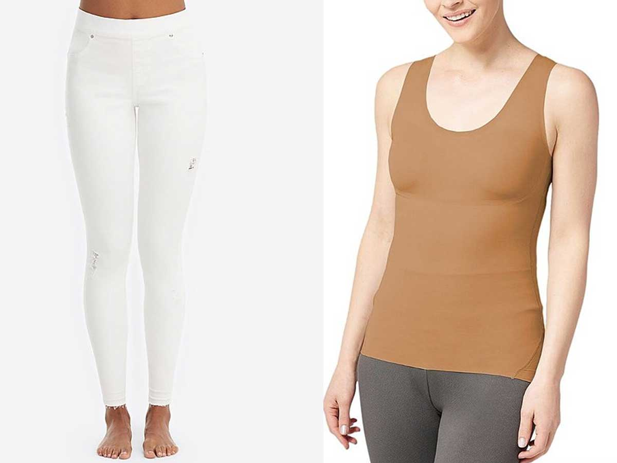 spanx jeans and tank top stock images