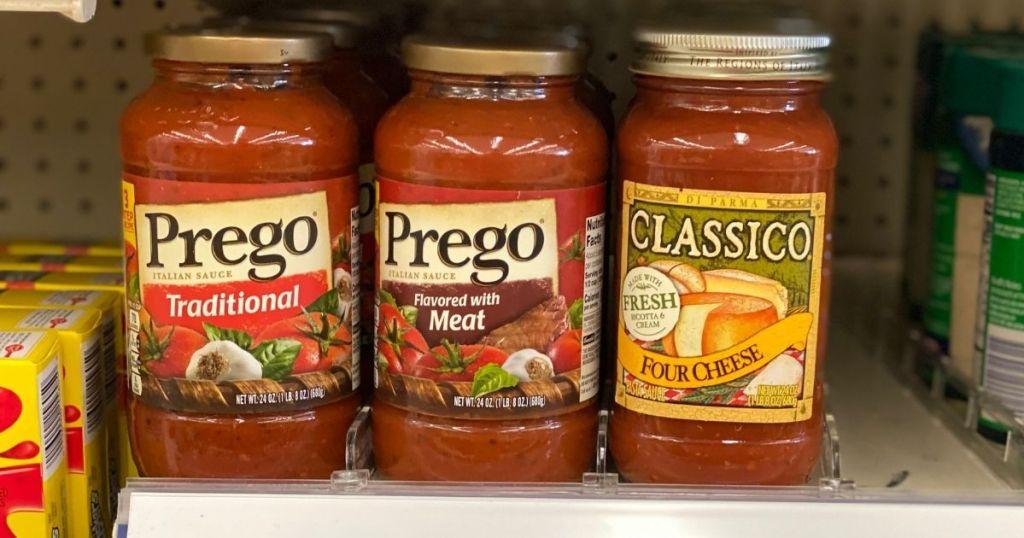 3 Kinds of Prego Pasta Sauce on shelf