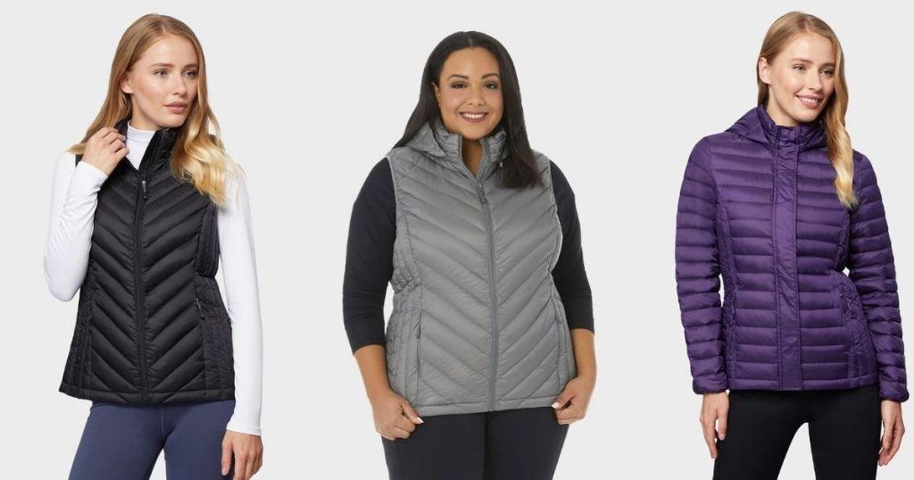 ladies wearing 32 Degrees Women's Down Vest and Jacket in black, gray, purple