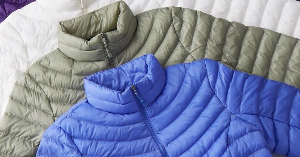 stack of packable jackets