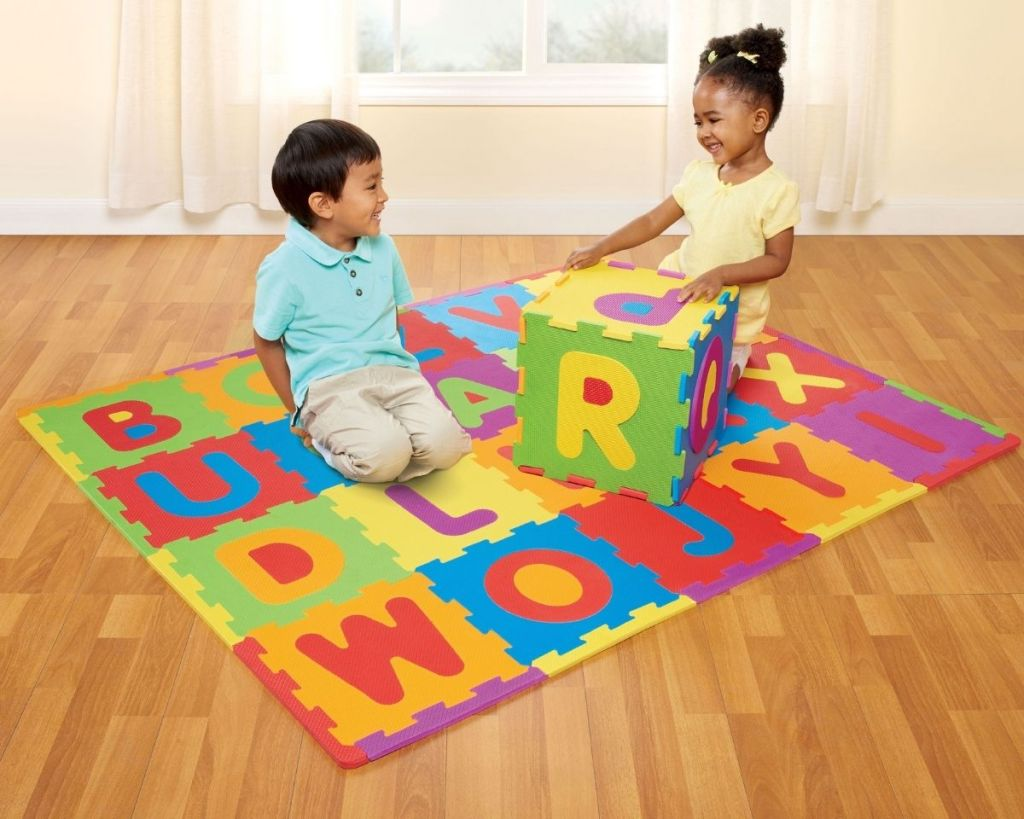 2 kids playing with ABC Foam Play Mat